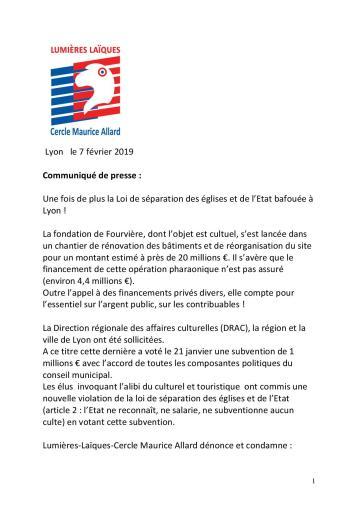 Communiqué Fourvière p1